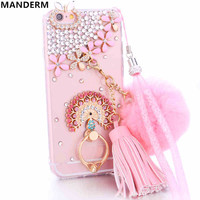 Diamond case cover for iphone 6 6s case rhinestone Plush ball chain tassel stand holder cover for iphone 6 silicone cases 4.7