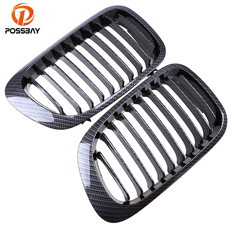 POSSBAY Carbon Black Front Center Grill for BMW 3-Series E46 BMW M3 Coupe 325Ci/328Ci/330Ci 1998-2002 Auto Exterior Accessories possbay matte black front center grille grilles for bmw 3 series e46 325ci 330cd 330ci m3 csl cabrio cabrio 2003 2006 facelift