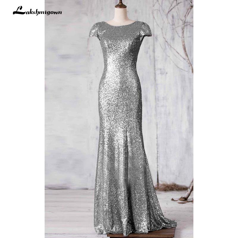 Sequined Mother Of The Bride Dresses Sweep Train Cap-Sleeve Bateau-Neck Long Mother Of The Bride Dresses