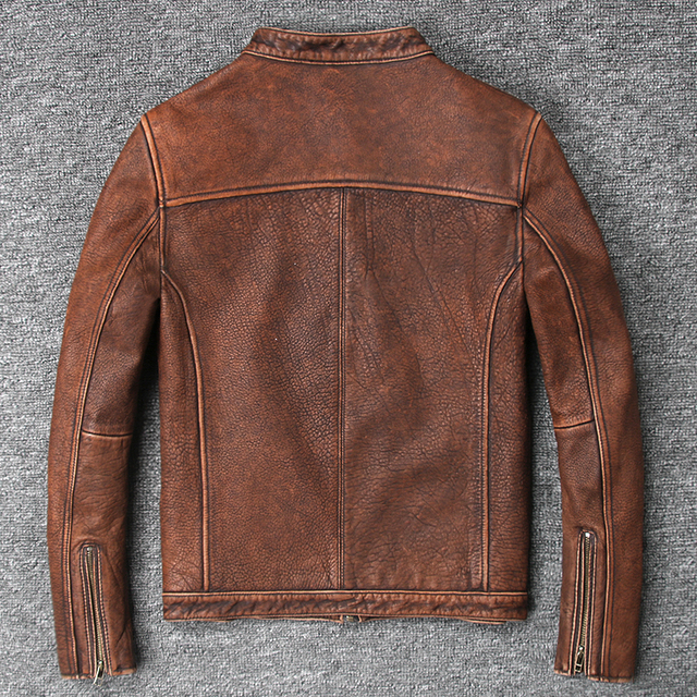 YOLANFAIRY 100% Pure Cow Leather Coat For Men Spring Autumn Geniune Leather Jackets Short Slim Motocycle Vintage Outwear MF131 1