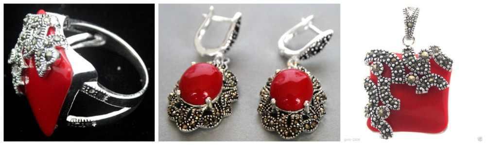 Модные дизайнерские красные резные покрытые лаком марказит серебро 925 пробы