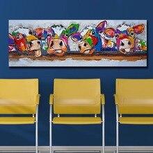 Mklql мода Поп Книги по искусству четыре коровы за забором стены Книги по искусству холст картины для Гостиная дома Декор картина маслом на холст