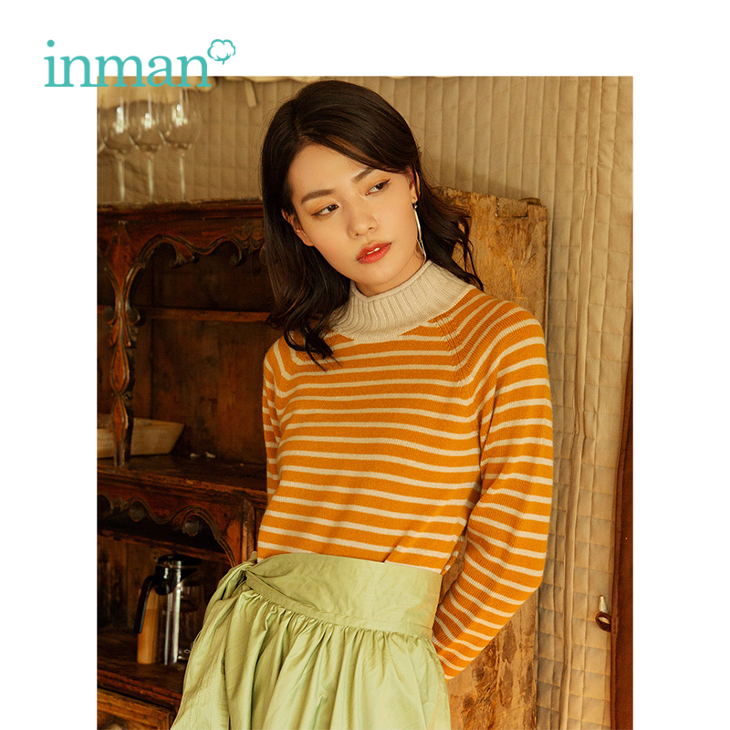Инман 2018 Зима Новое поступление женский шерсть смешивание Полосатый Тонкий пуловер для женщин кашемировый свитер