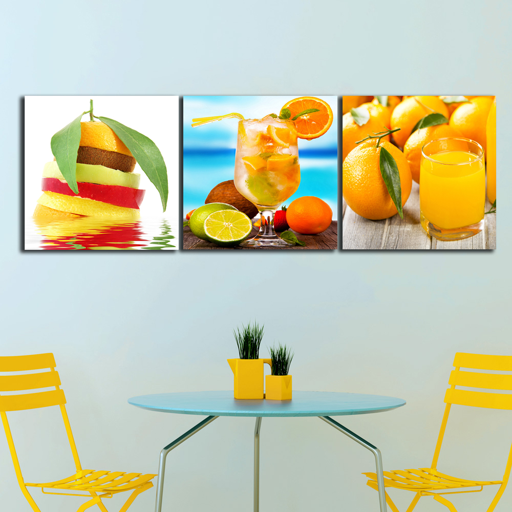 3 Panels Drinks Juice Orange Paintings For The Kitchen Fruit Wall Decor Modern Canvas Art Wall
