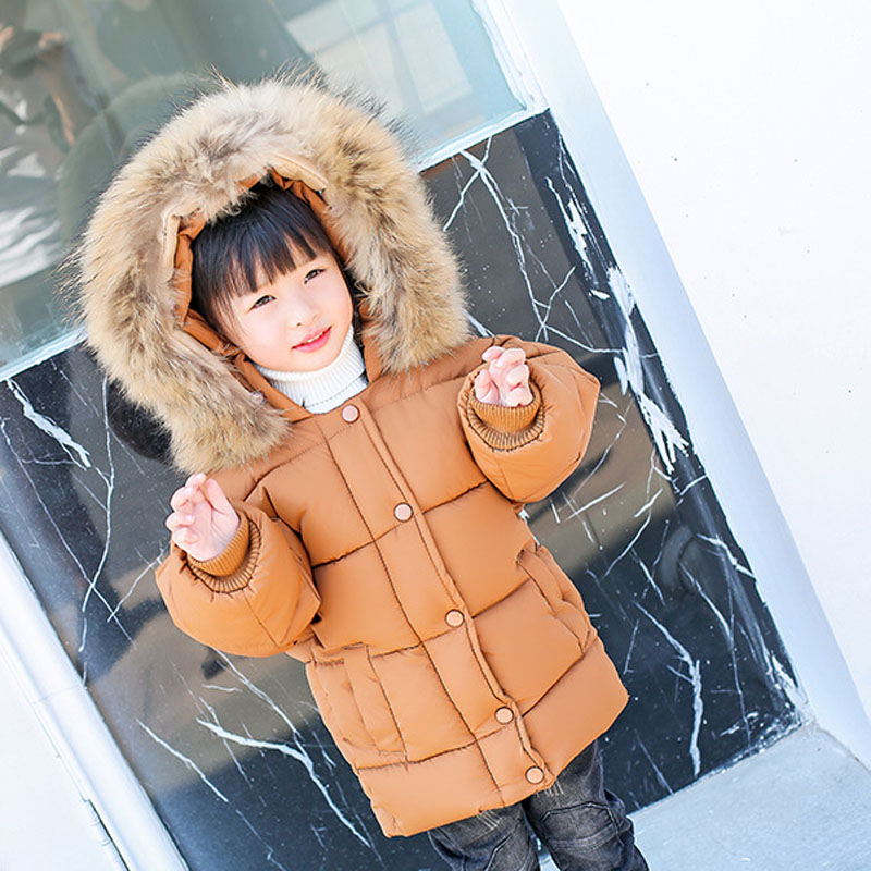 2017 New Brand Toddler Girls Large fur collar Hooded Outerwear Winter Child Coat Thicken Fashion Baby Girl Clothes Parkas jacket 2017 winter girls coat parkas wadded jacket fashion big fur collar cotton jackets outerwear 120 160 high quality