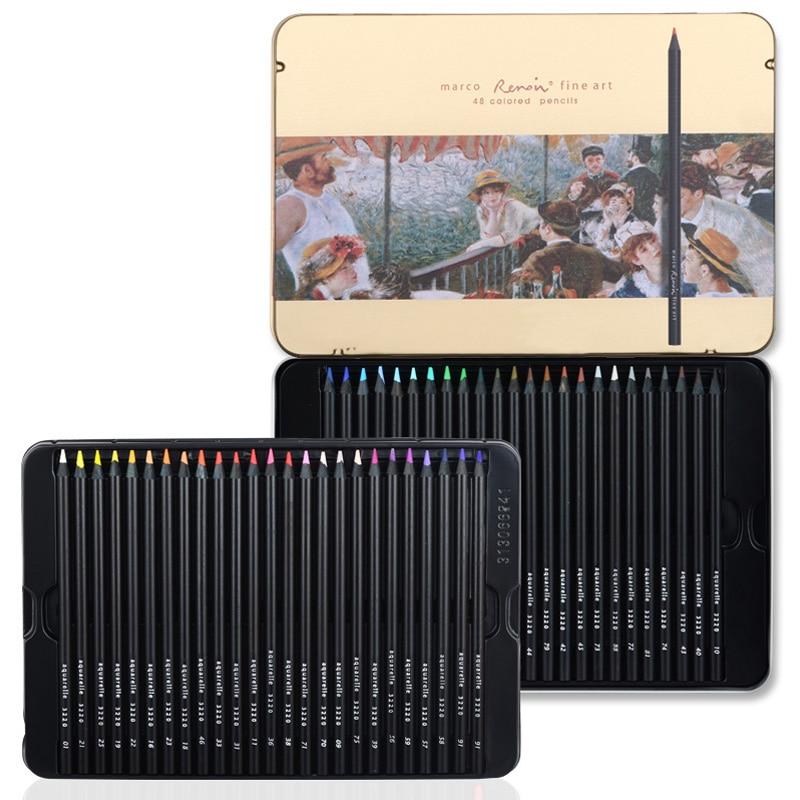 scribble scribble pen MARCO 3200 black wood color pencil professional art 48 color oil color lead tin. цена