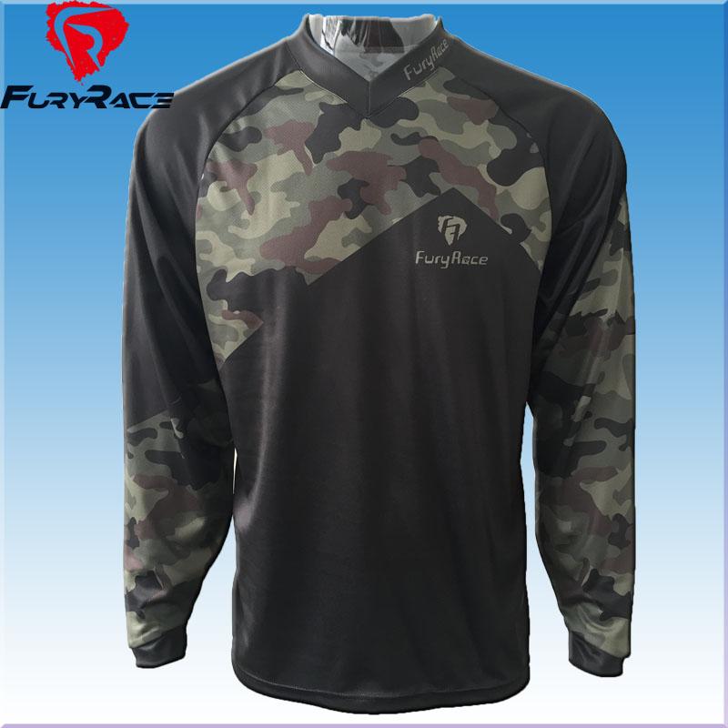 Prix pour Fureur Course Plus Modèles Camouflage Descente Maillots Hommes VTT Motocross T-shirt Moto Cyclisme Usure Vélo Chemises Jersey Vêtements