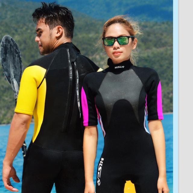HISEA 3mm Short Sleeved Lovers Men Women Wetsuit Snorkeling Jumpsuit Full Body Dive Wet Suit One-piece Winter Swim Warm Surf