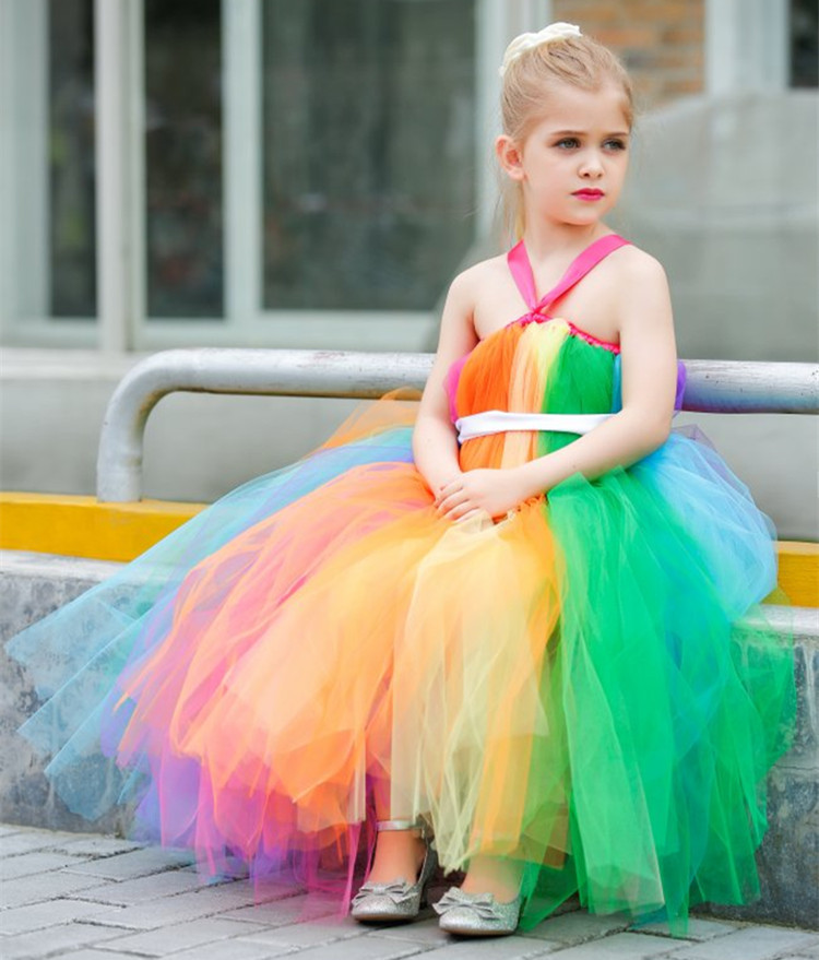 2020 Newest Rainbow flower girl tutu dress Tulle girls Costumes Easter rainbow dress for rainbow colorful themed weddings 1PC 1