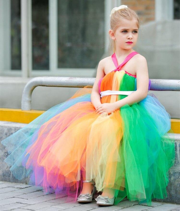 2019 date arc-en-ciel fleur fille tutu robe Tulle filles Costumes pâques arc-en-ciel robe pour arc-en-ciel coloré thème mariages 1 PC