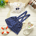 New arrival baby girl suit shirt + overalls 2pcs / set Polka Dot Ribbon Kids girl's summer shorts cute clothes free shipping