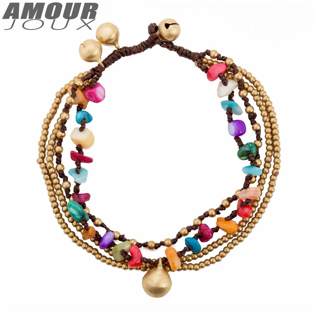 Amourjoux Ethnic Handmade Braid Colorful Stones Bell Leg Anklets For Women Ankle  Bracelet Woman Anklet Female