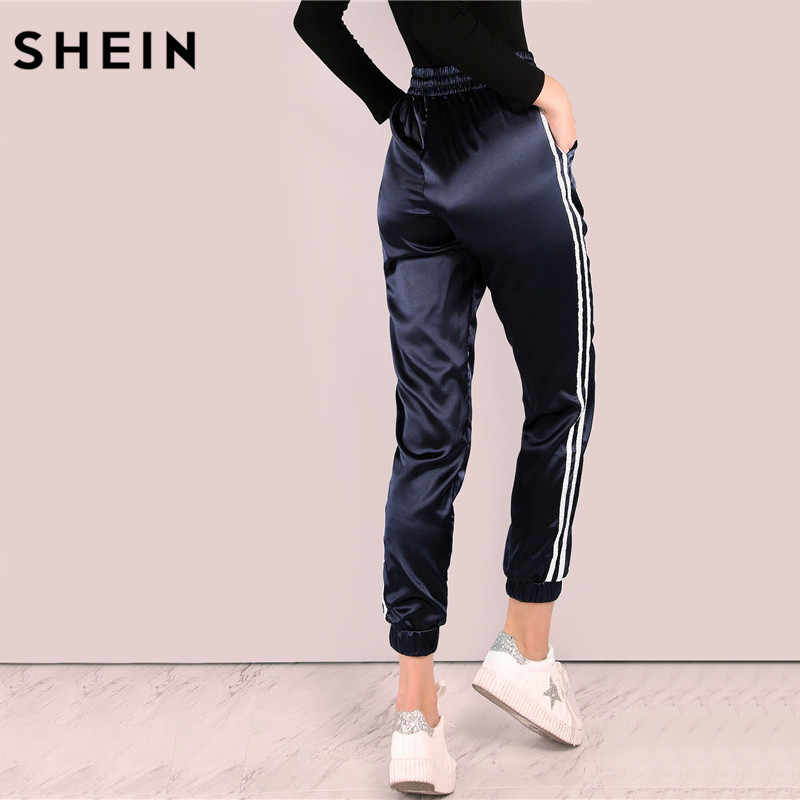 a7e4a3594ec6 ... SHEIN Mid Waist Pants Women Satin Luxe Trainer Joggers Drawstring Waist  Casual Trousers Women Loose Sweatpants ...