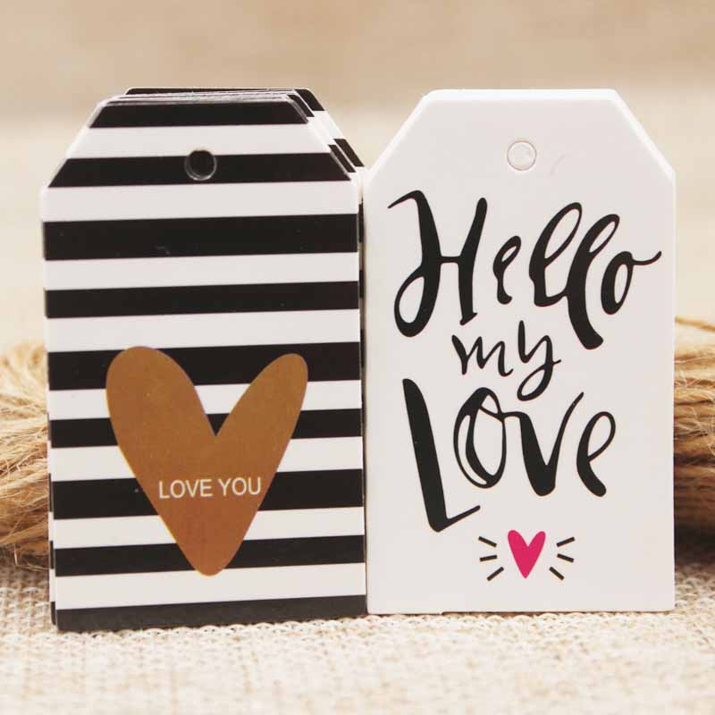50pcs Heart Shape Pink Love Printing Golden Fail Design Tag Hot Selling Tag Price Cardboard Cute Pink Cardboard Heart Cardboard