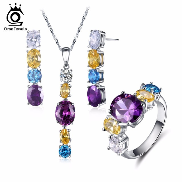 ORSA JEWELS Fashion Silver Color Earrings & Ring & Necklace Jewelry Sets with Shiny Multicolour Cubic Zirconia for Women OS100