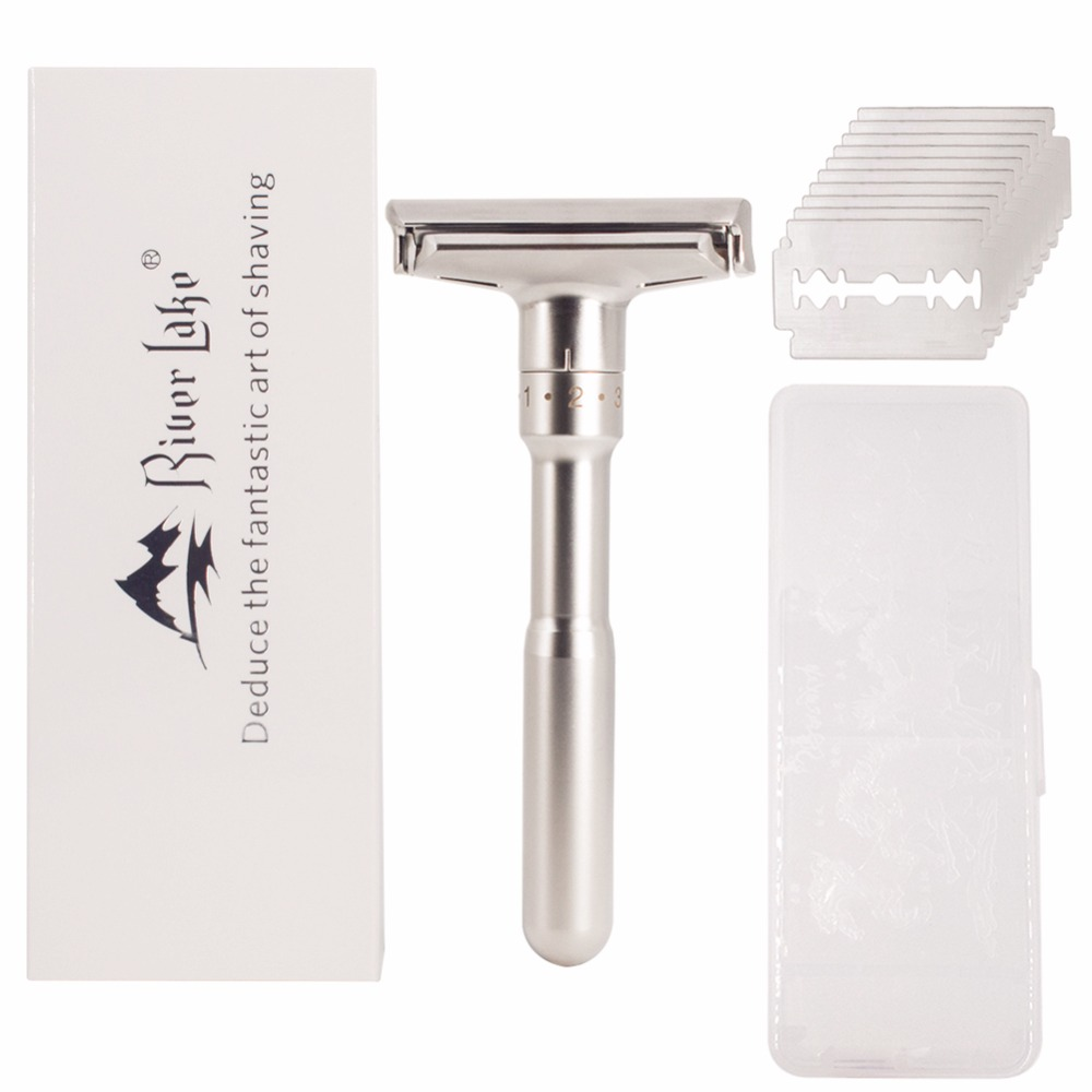 Adjustable Safety Razor Mens Shaving Double Edge Classic Safety Razor Blade Exposure Six Levels shaver formen1 handle 10 blades 1