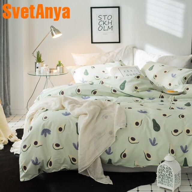28683472abb0 Svetanya Fruits Avocado Print Sheet Pillowcase Duvet Cover Sets 100% Cotton  Bedlinen Twin Double Queen King Size Bedding Set