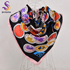 BYSIFA Brand Scarves Winter Women Black Pink Square Silk Scarf Shawl 90 90cm Spring Autumn New
