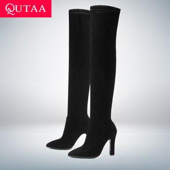 QUTAA/2019 г. Женские Сапоги выше колена, зимняя обувь без шнуровки, тонкий высокий каблук, острый носок, универсальные женские сапоги, размер 34-43
