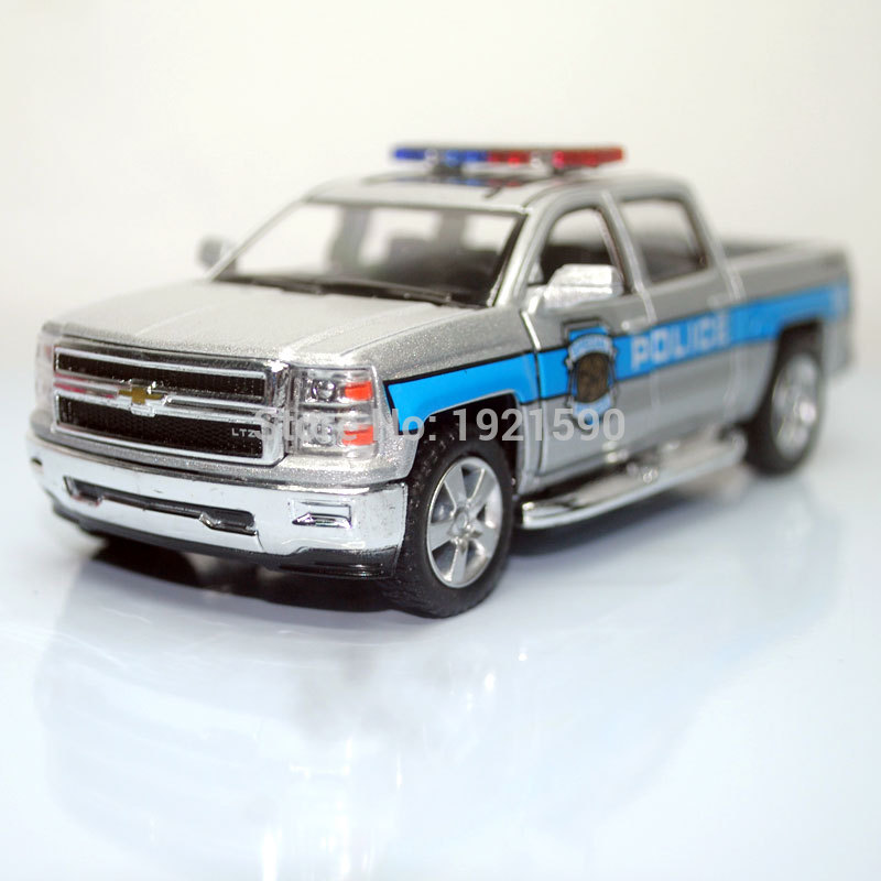 KT 1/46 Scale Car Toys Police Ver. 2014 Chevrolet Silverado Diecast Metal Pull Back Car Model Toy For Gift/Kids/Collection