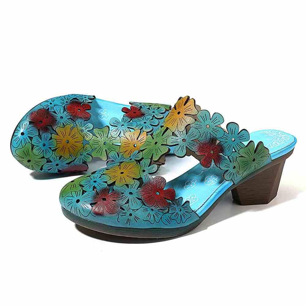 SOCOFY มือรองเท้าแตะดอกไม้รูปแบบหนัง Splicing สบายรองเท้าแตะฤดูร้อนรองเท้าผู้หญิง 2019