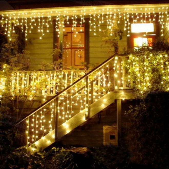 Connectable Outdoor Lights: Connectable 4M led curtain icicle string lights led fairy lights Christmas  lamps Icicle Lights Xmas Wedding Party Decor outdoor,Lighting