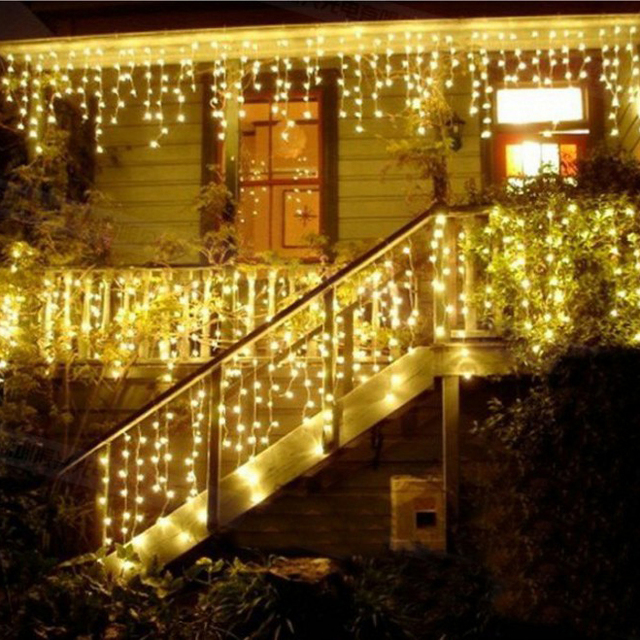4m led icicle led curtain fairy string light christmas light 220v110v led wedding string - Christmas Light Garland