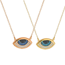 high quality micro pave blue cz gold rose gold silver fashion evil eye pendant gold women necklace