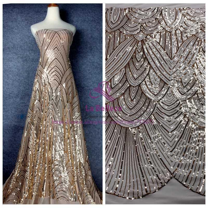 """لا بيليزا 1 ياردة الذهب/أسود الترتر على شبكة تمتد مطرزة أقمشة الدانتيل لفستان النسيج 51 """"العرض"""