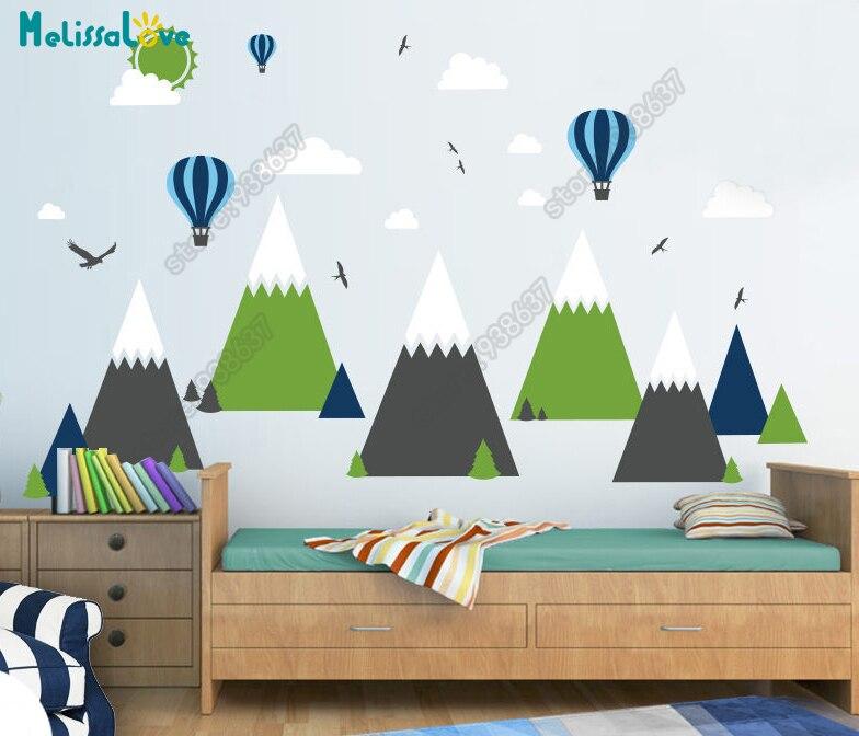 Großes Baby Zimmer Aufkleber Adventure Theme Decor Riesige Mountain Cloud Vogel Heißen Ballon Kinderzimmer Abnehmbare Vinyl Wandaufkleber JW375 - 2