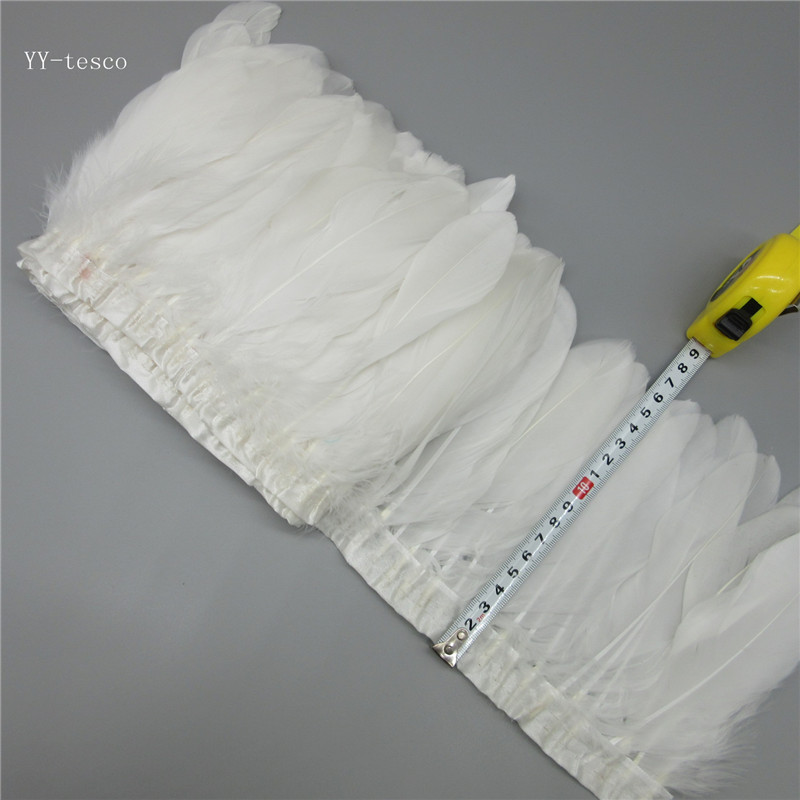 White Goose Feather Trims 10 Yards Dyed Geese Feather Ribbons/15-20cm Fringes Goose Feather Cloth Belt DIY Decorative 20 Color
