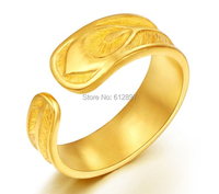 New Arrival 999 Solid 24K Yellow Gold Ring / Bless Leaf Ring / 6.89g Us Size 4 10