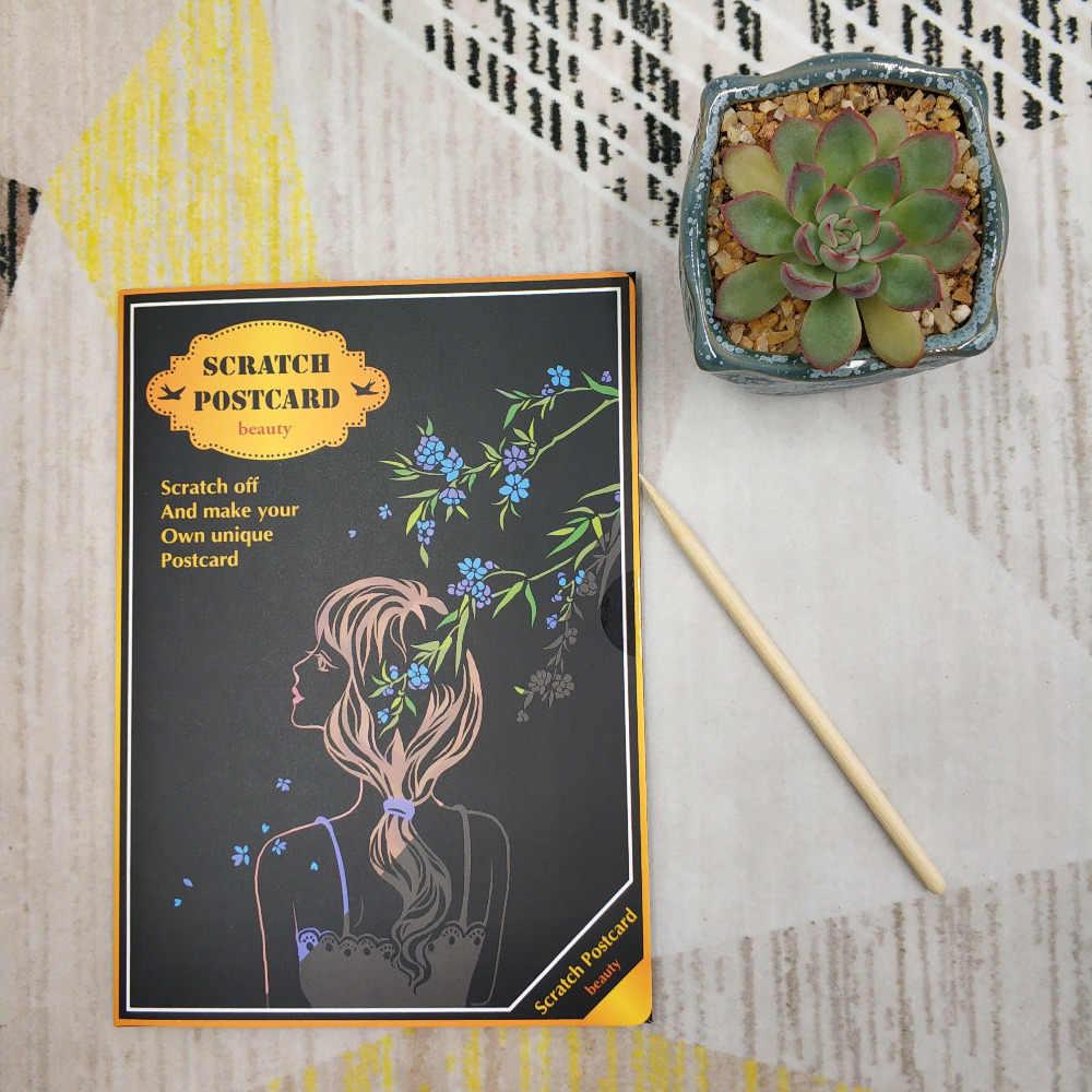 4 unids/set colorido pintar y rayar pintura a raspado papel de dibujo juguetes educativos para niños juguete para arañar