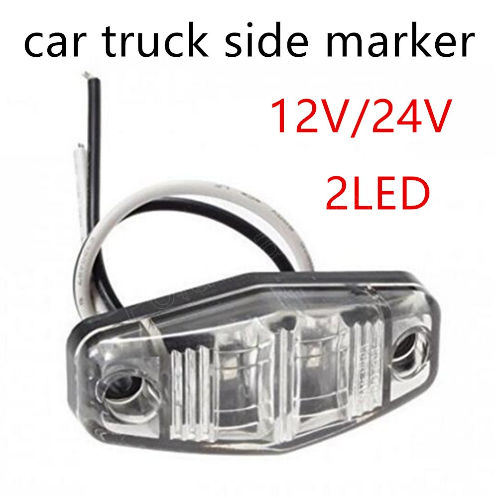One Piece 2LED Side Marker Light Car Truck Sealed Trailer Clearance Lamp 12/24V E-marked Lights 3 Colors For Choice image