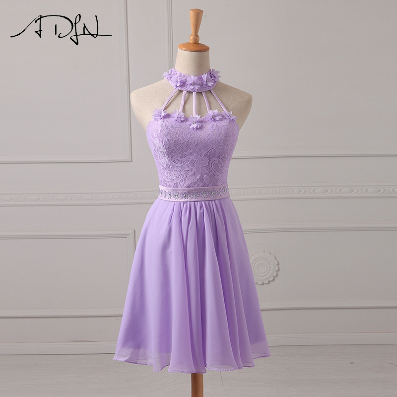 ADLN Halter Chiffon A-Line Lilac   Bridesmaid     Dresses   Lace Wedding Guest Gown Short Maid of Honor   Dress