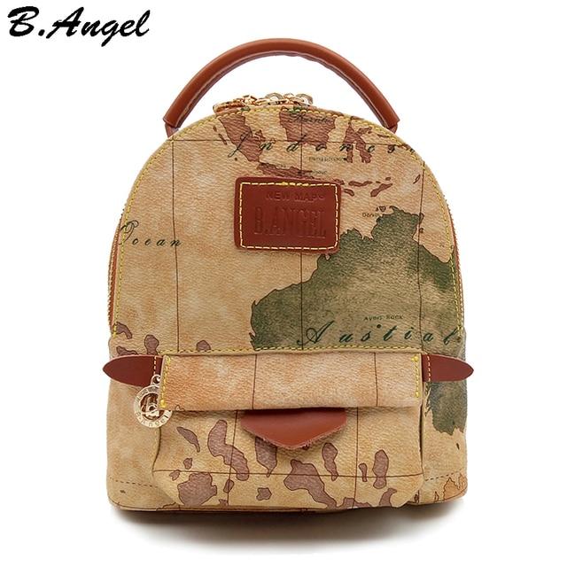 239ed5d0839b Высокое качество карта мира рюкзак женщины рюкзак кожаный рюкзак печати  рюкзак дорожная сумка