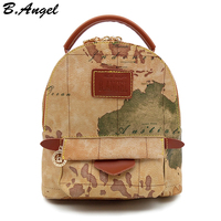High quality world map backpack women backpack leather backpack printing backpack travel bag