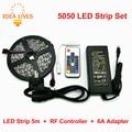 DC12V RGB 5050 Tiras de LED Set, 5 m 300 LEDs Luz Fleixble + RF Controlador + 6A Adaptador.