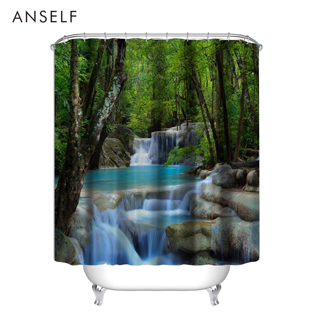 1PCS Shower Curtains 3D Waterfall Design 2 Size Bathroom Waterproof  Polyester Fabric Bath Curtains Thickened Shower
