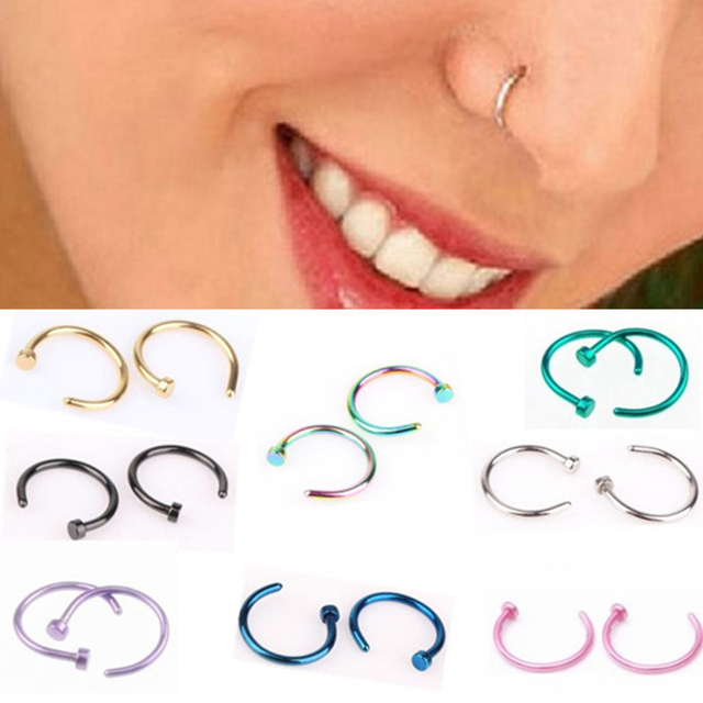 10pcslot Surgical 5 Different Colors Piercing Nose Ring Ball