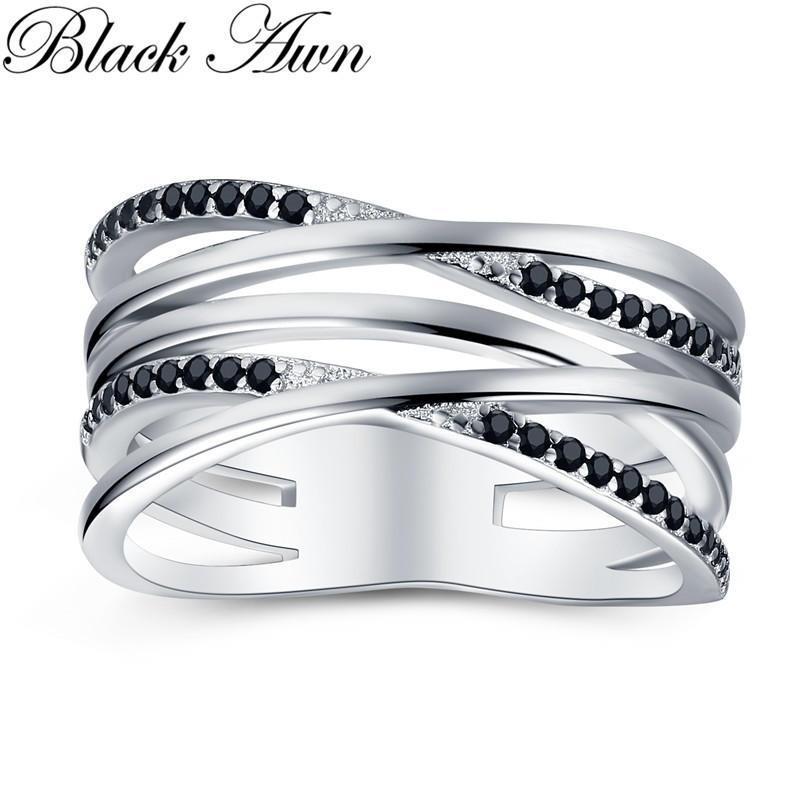 2019 New Simple 925 Sterling Silver Fine Jewelry Engagement Black Spinel Round Engagement Ring for Women 2019 New Simple 925 Sterling Silver Fine Jewelry Engagement Black Spinel Round Engagement  Ring for Women Anillos Mujer G063