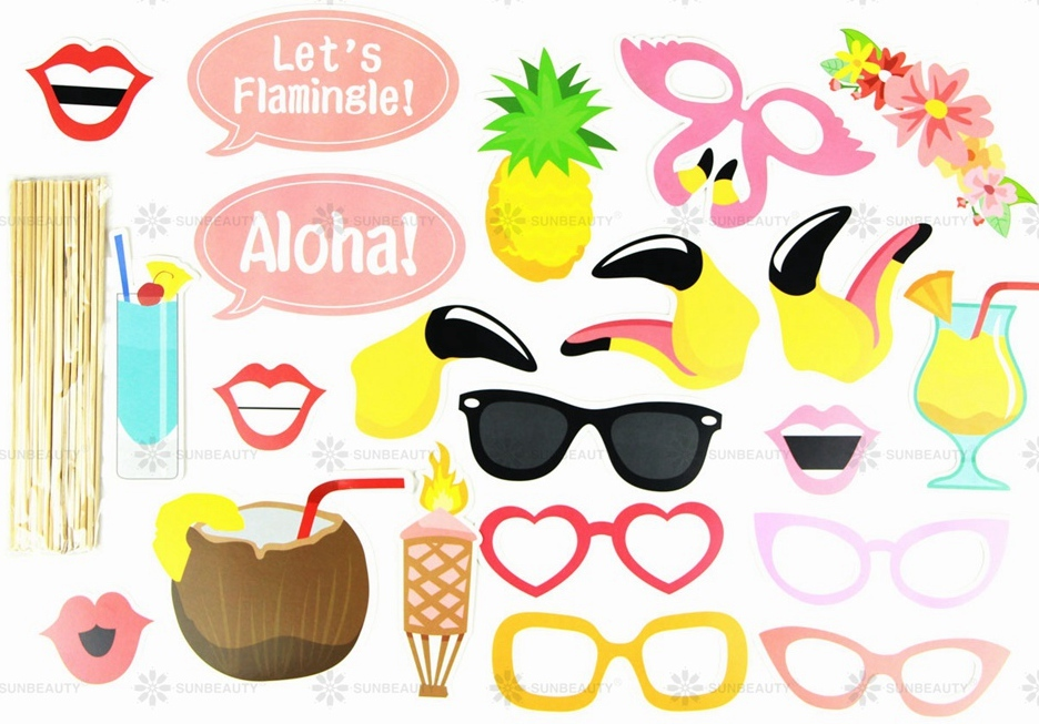 Flamingo Photo Booth Props For Luau Hawaiian Party Decorations Pool Beach Tropical Summer Party Decor Supplies in Party DIY Decorations from Home Garden