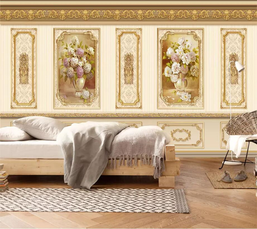 beibehang Custom wallpaper 3d mural European luxury garden flower gold home decoration siding mural wallpaper 3d papel de parede in Wallpapers from Home Improvement