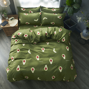 Image 1 - Cartoon fruit Bedding Set Soft Quilt Cover Pillowcase Warm Soft bed sets twin full queen king duvet cover sets green bedclothes