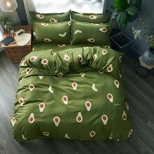 Ensemble de literie de fruits de bande dessinée housse de couette douce taie doreiller ensembles de lit doux chaud double reine roi housse de couette ensembles vert literie