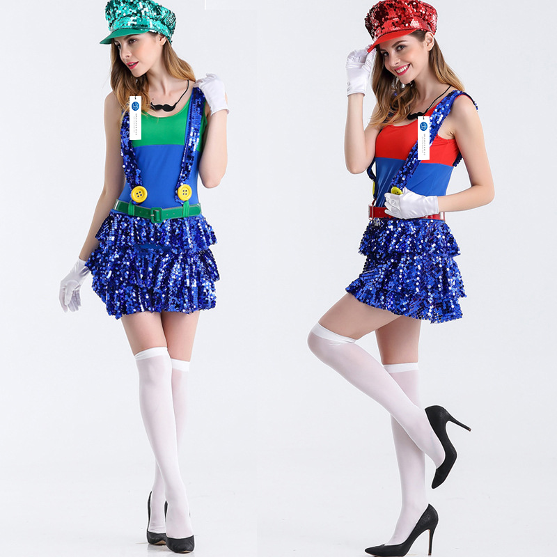ManLuYunXiao 2017 Super Mario Cosplay Halloween Party Mario Uniforms Sequins Women Dress Adult Free Shipping