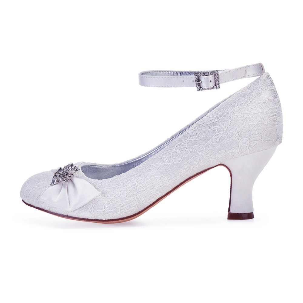 Creativesugar Putih Ivory Renda Bulat Toe Blok Tumit Pengantin Pernikahan Prom Sepatu dengan Ikatan Simpul Manis Kristal Bros Wanita Pompa