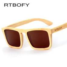 RTBOFY Wood Sunglasses Men Bamboo Polarized Square Sunglasses Brand Designer Mirror Original Wood Sun Glasses For Men Eyewear