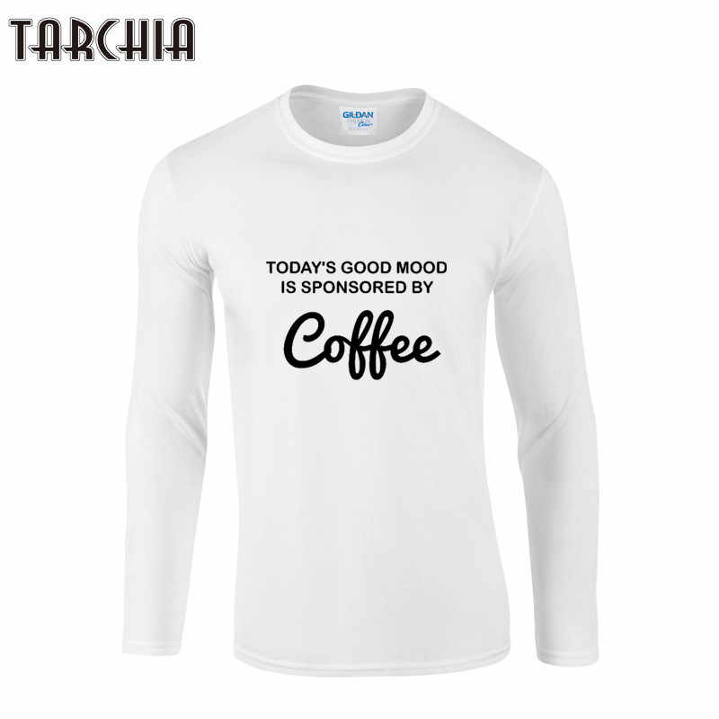 TARCHIA Autumn Mens T Shirts Fashion COFFEE Printed Long Sleeve Cotton T-Shirt Men Casual Brand Clothing Homme Male Tees Tops