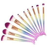 Newest 6 10pcs Set Mermaid Color Make Up Eyebrow Eyeliner Blush Blending Contour Foundation Cosmetic Beauty